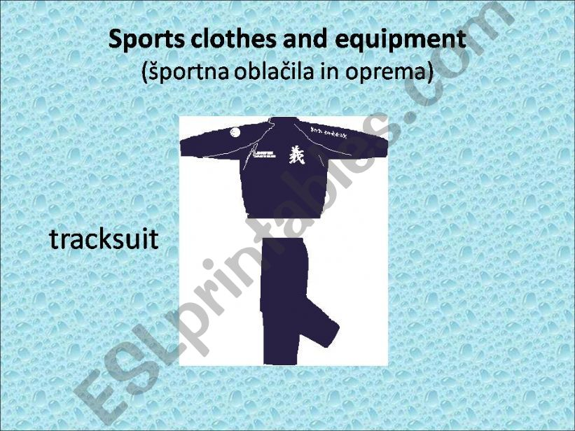 Sports clothes and equipment powerpoint