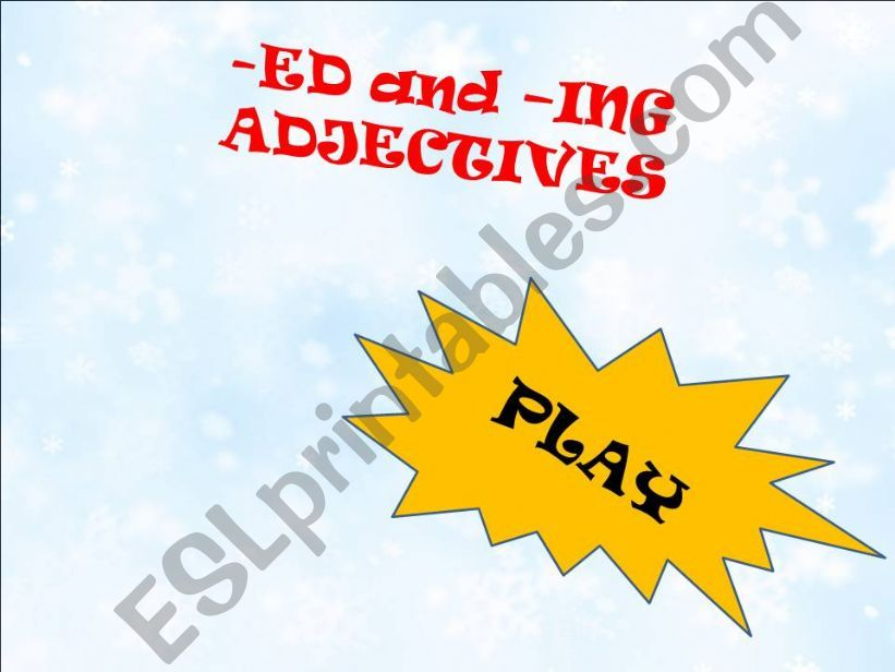 -ed or -ing adjectives game powerpoint