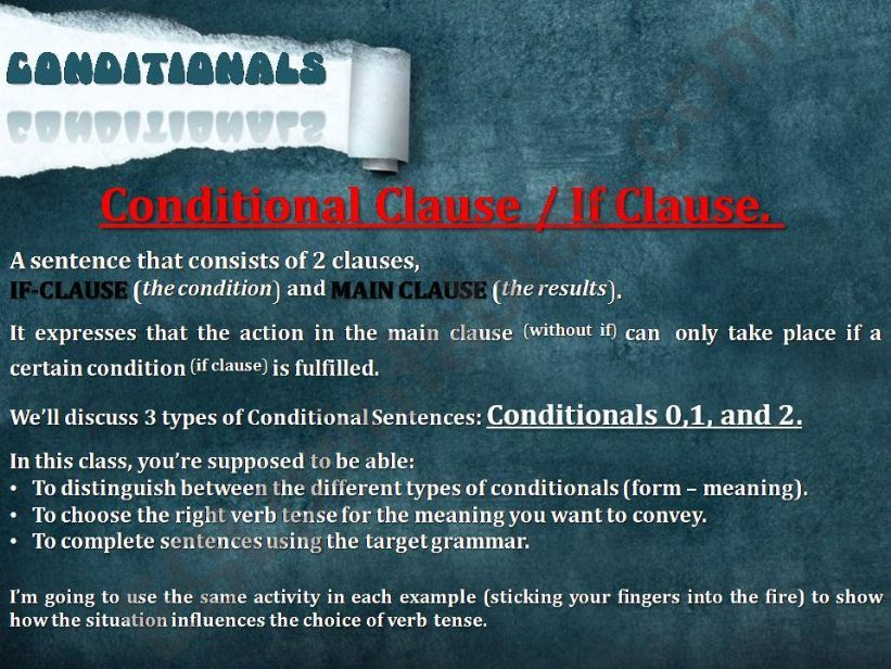 Conditionals types 0,1 and 2 powerpoint