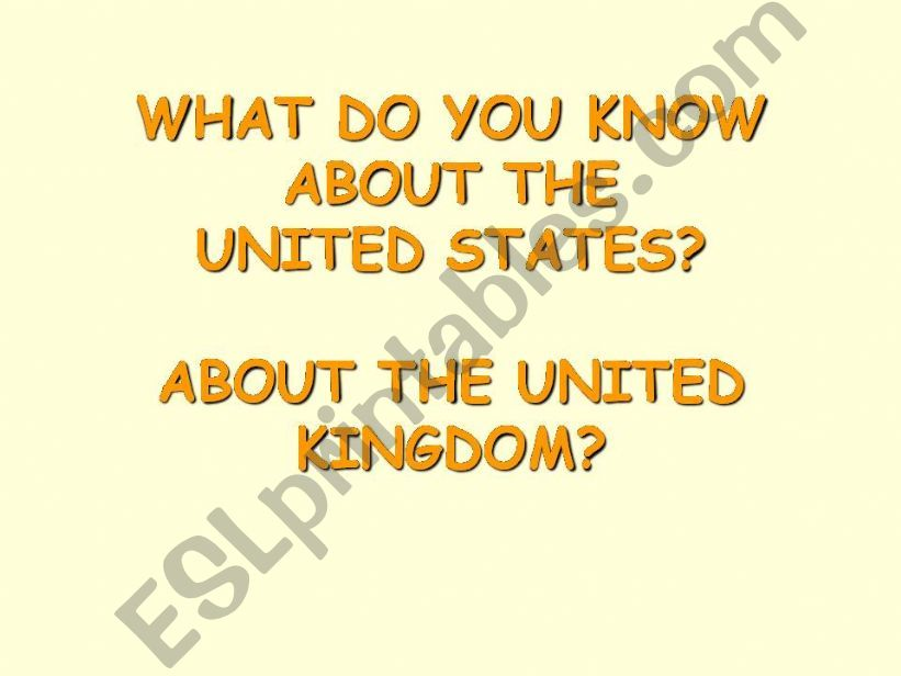 The USA and The UK powerpoint