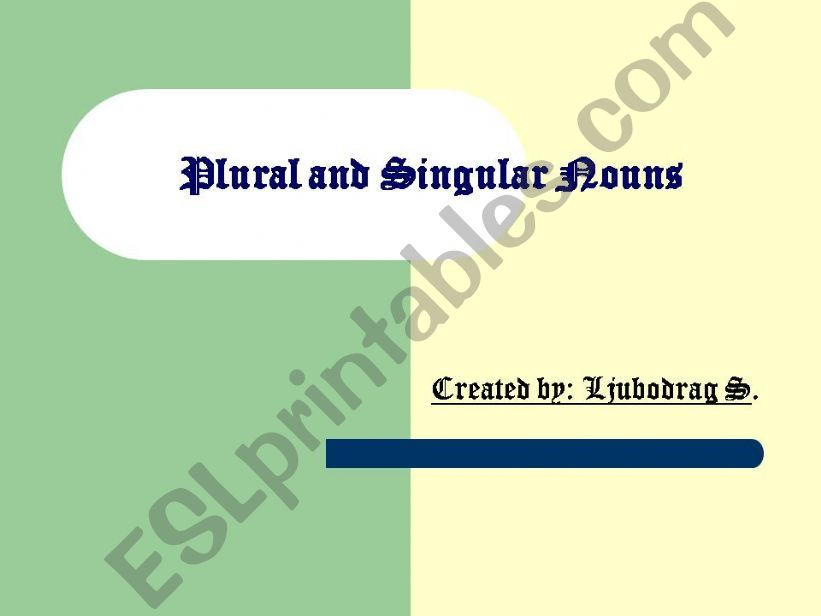 Plural of Nouns powerpoint