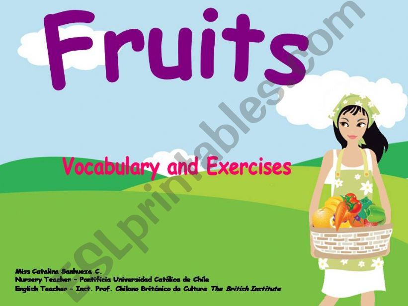 Fruits: vocabulary and Board games
