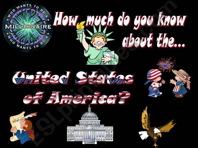 The USA quiz - Part I (20 slides, fully editable, animated)