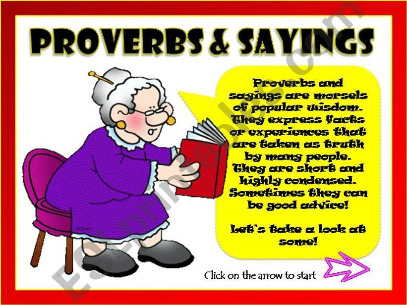 PROVERBS & SAYINGS  powerpoint