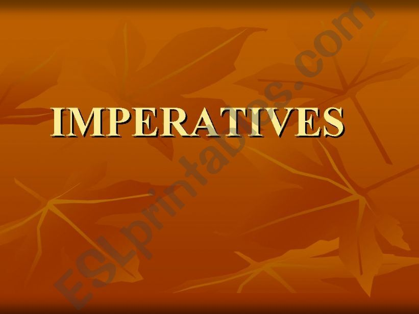 IMPERATIVES used in classroom powerpoint