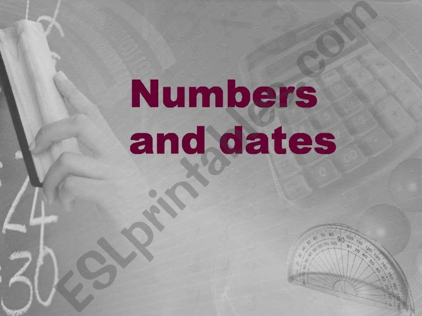 Numbers and dates powerpoint