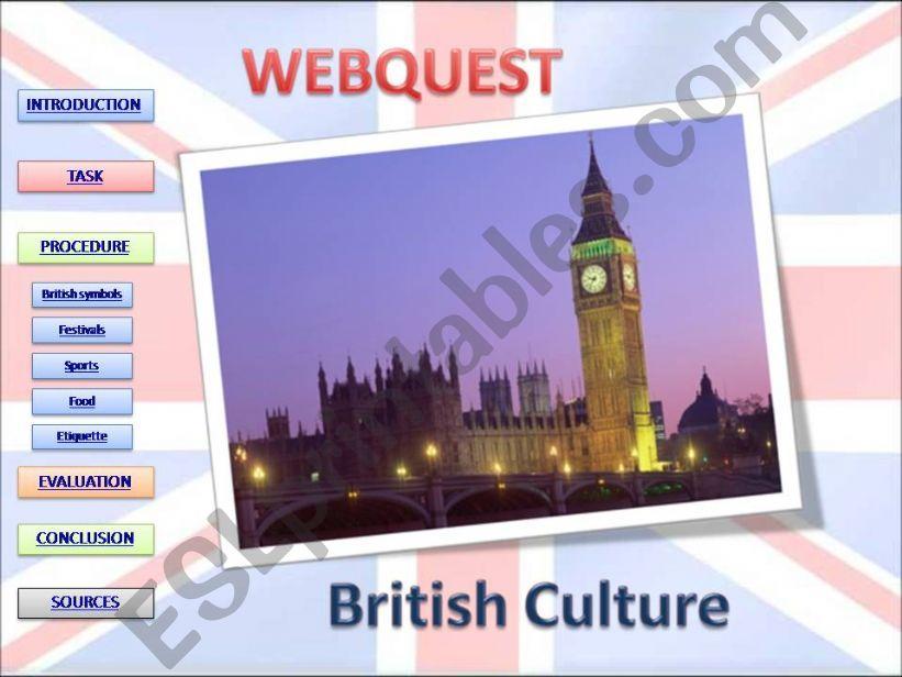 Webquest about British Culture
