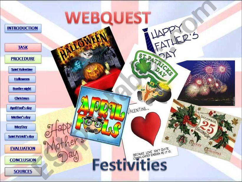 Webquest about festivities powerpoint