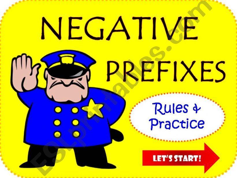 WORD BUILDING: negative prefixes