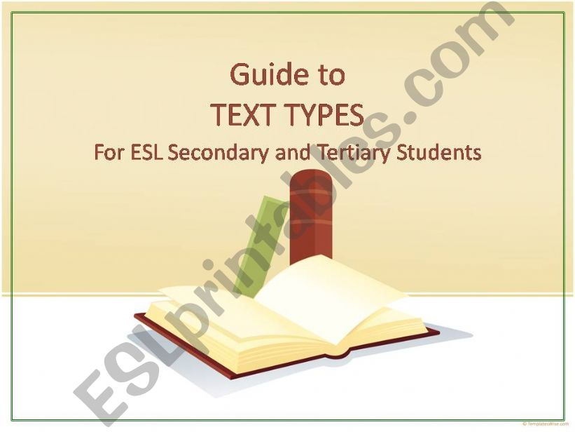 Text Types: Guide for Secondary & Tertiary Students
