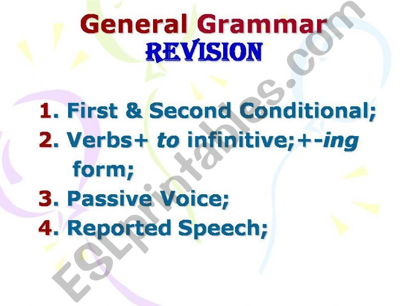 Grammar Revision (First & Second Conditional, Passive Voice, Reported Speech, Verb Pattern)