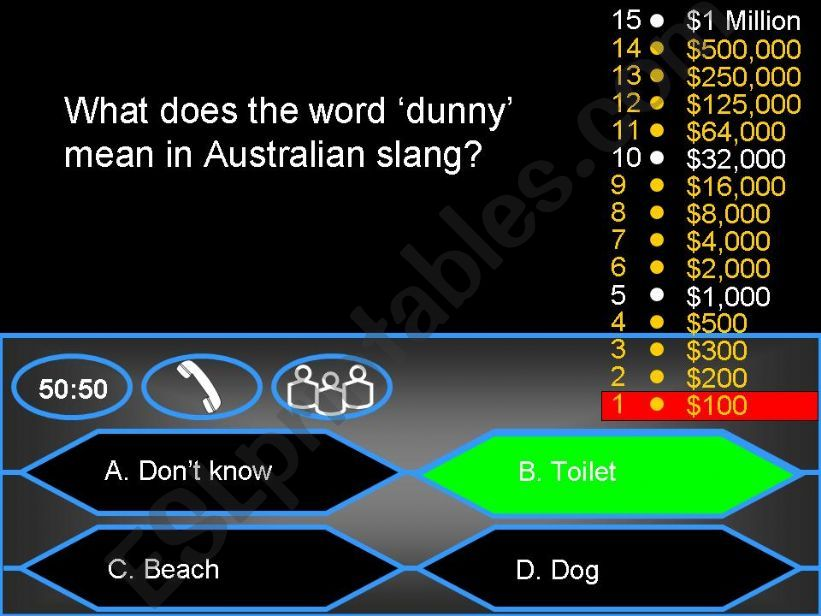 Who wants to be a millionaire? - Australian (Aussie) Slang