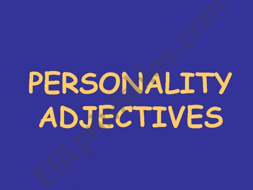 Personality adjectives with clues