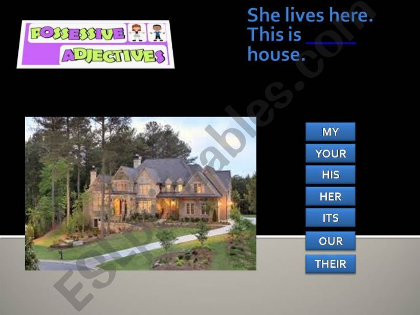 Possessive adjectives game powerpoint