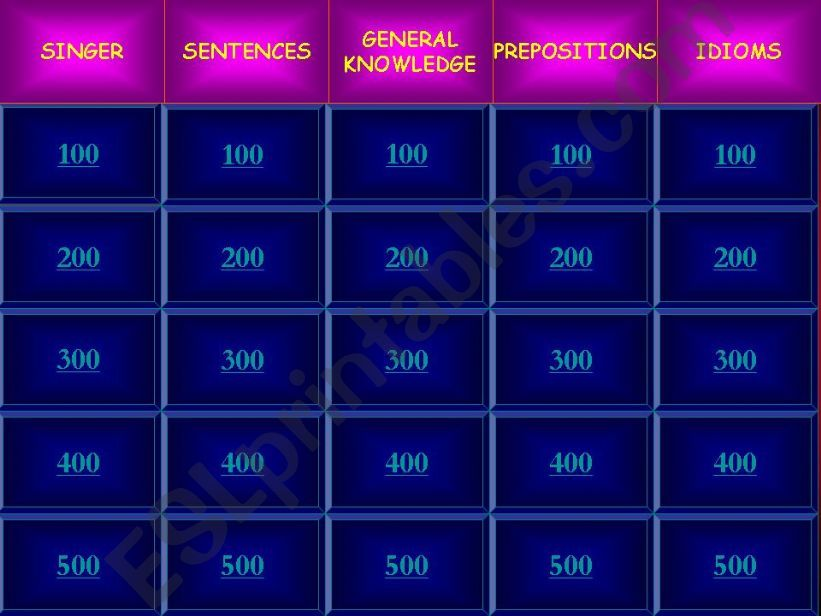 JEOPARDY GAME powerpoint