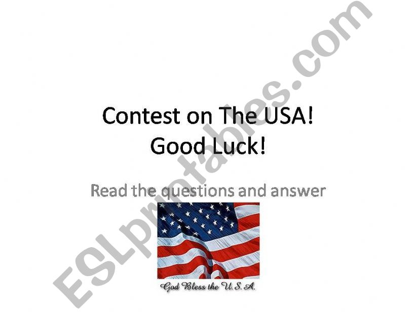 A contest on the USA powerpoint