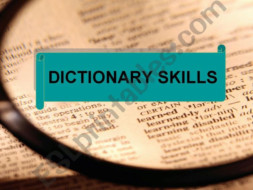 Intro to dictionary skills lesson plan on PPT
