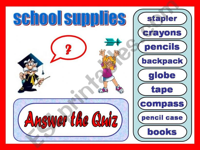 Quiz: School supplies powerpoint