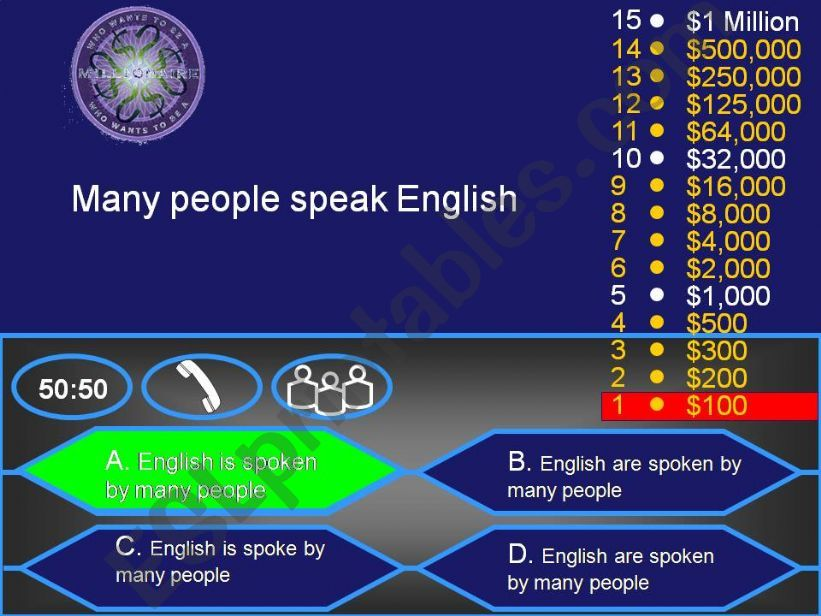 Passive Voice : Who wants to be a millionaire