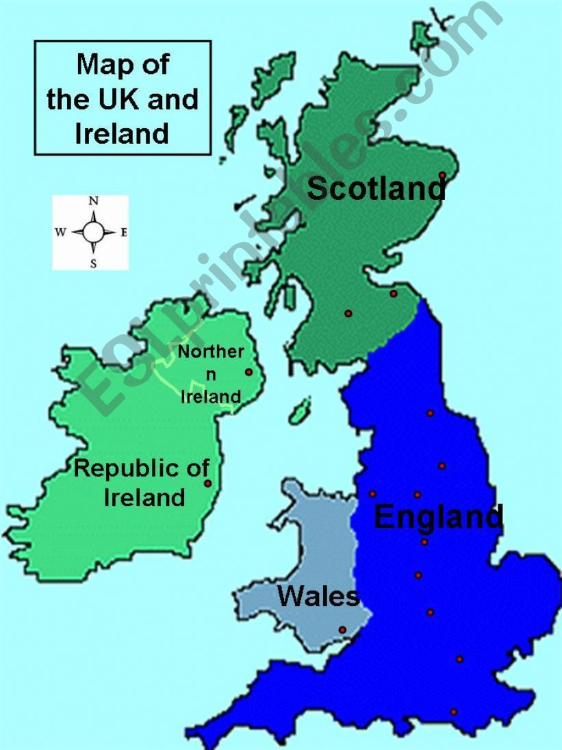 Map Of Uk For Powerpoint.Esl English Powerpoints Map Of Uk And Ireland