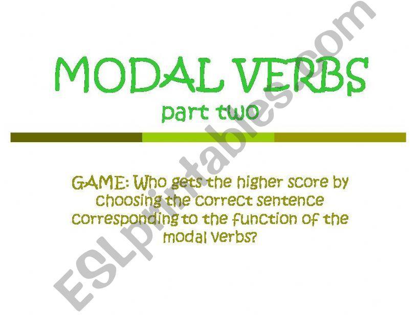 Modal Verbs part 2 powerpoint