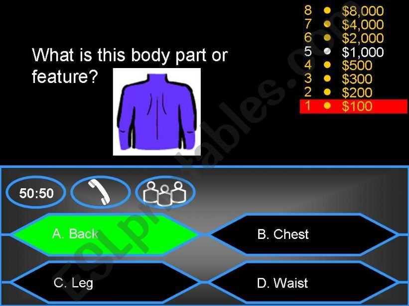 Who wants to be a millionaire? - Body parts and features