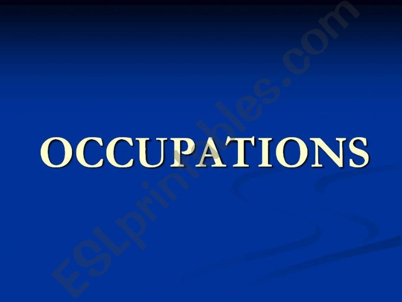 Occupations and verb be affirmative sentences.