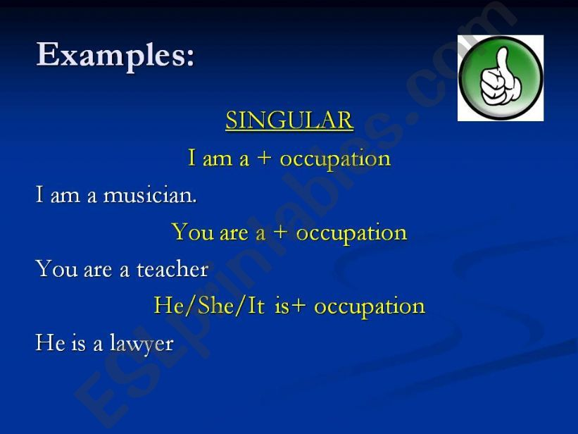 Occupations and verb be affirmative sentences 2nd part.