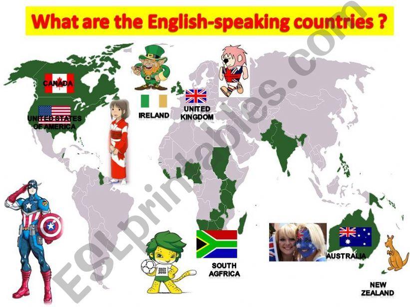 the english speaking world powerpoint
