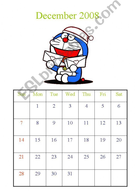 Calendar Dec 2008 and Jan 2009