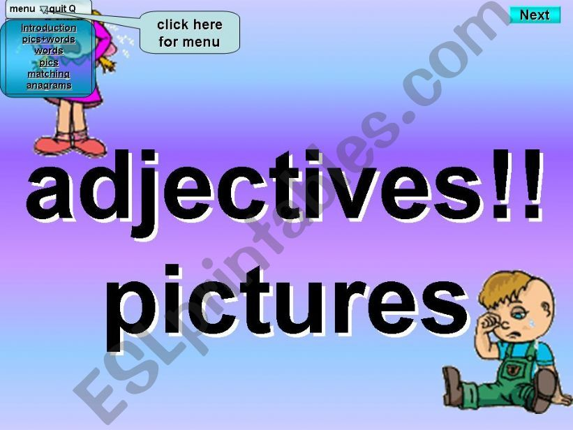 Adjectives - Kim´s Game - Pictures