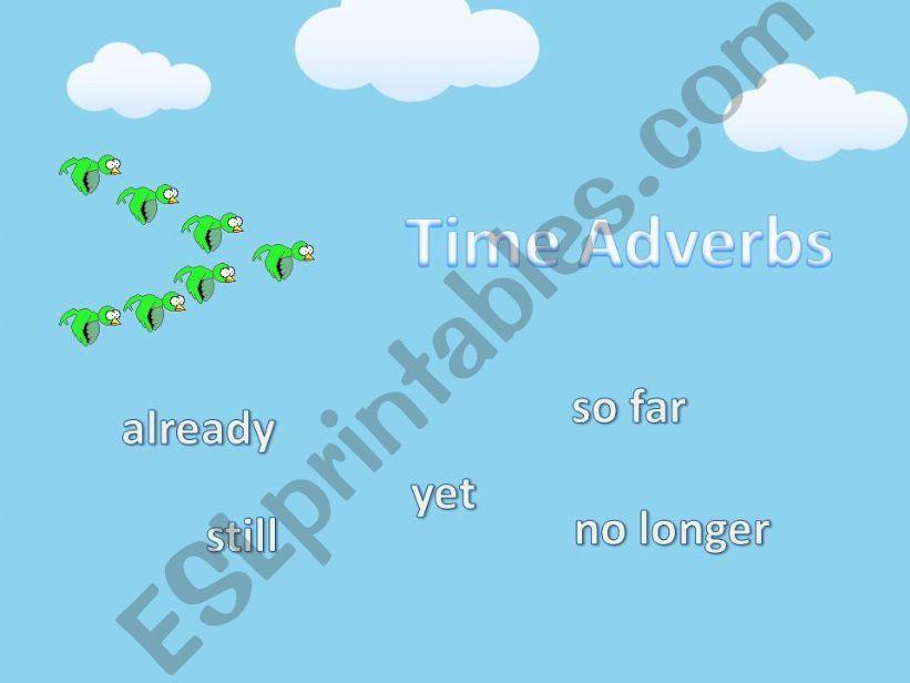 Time Adverbs (Yet, already, still, so far, no longer)
