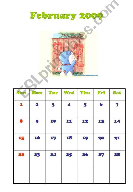 Calendar-Feb 2009, Mar 2009 powerpoint