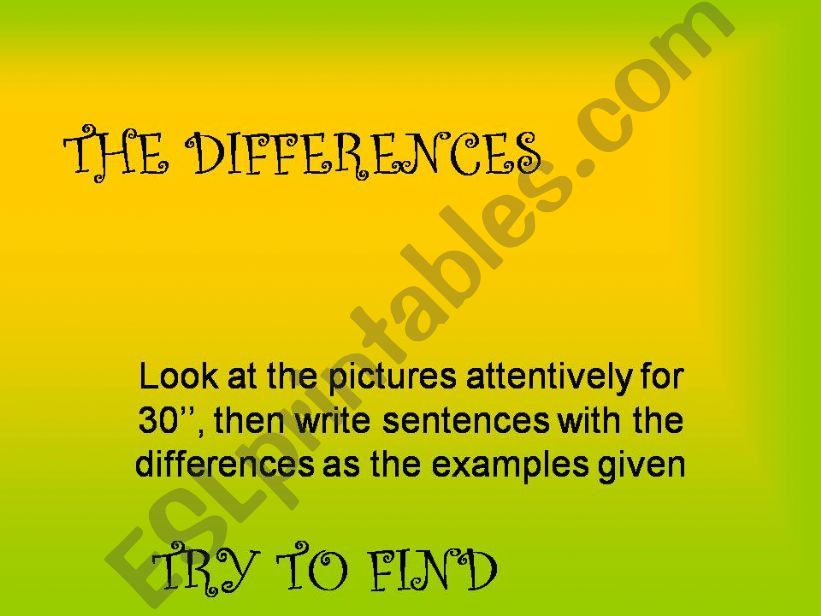FIND THE DIFERENCES powerpoint