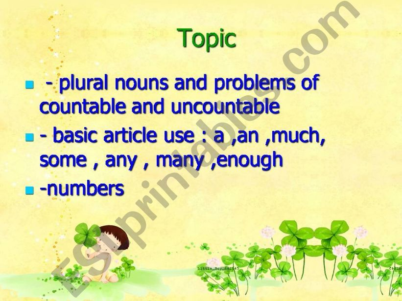 Noun,Article and number powerpoint