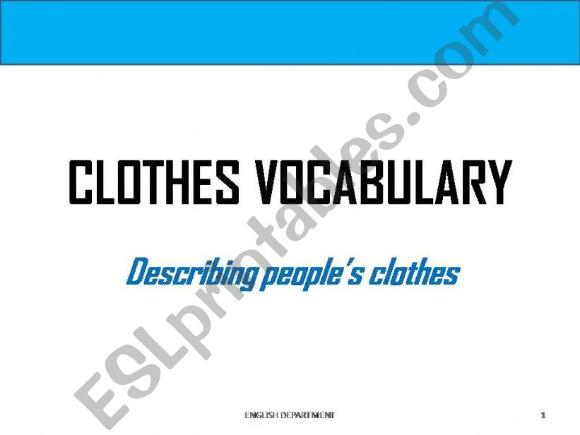 Clothes Vocabulary -Part 1 powerpoint