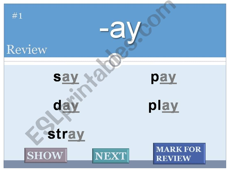 Word Families Flash Cards powerpoint
