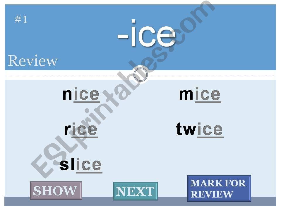 Word Families Flash Cards Long Vowels part 2