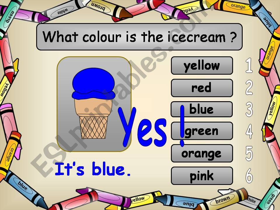 Game Recognizing Names of Colours