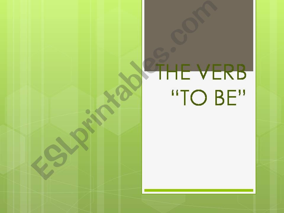 THE VERB TO BE AFFIRMATIVE powerpoint