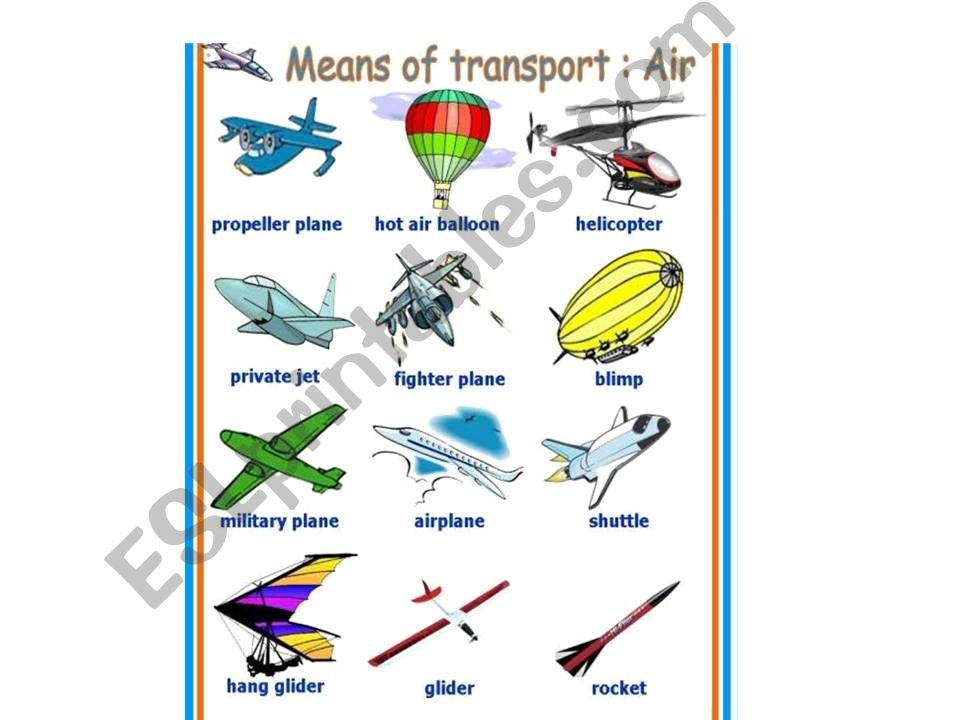MEANS OF TRANSPORT powerpoint