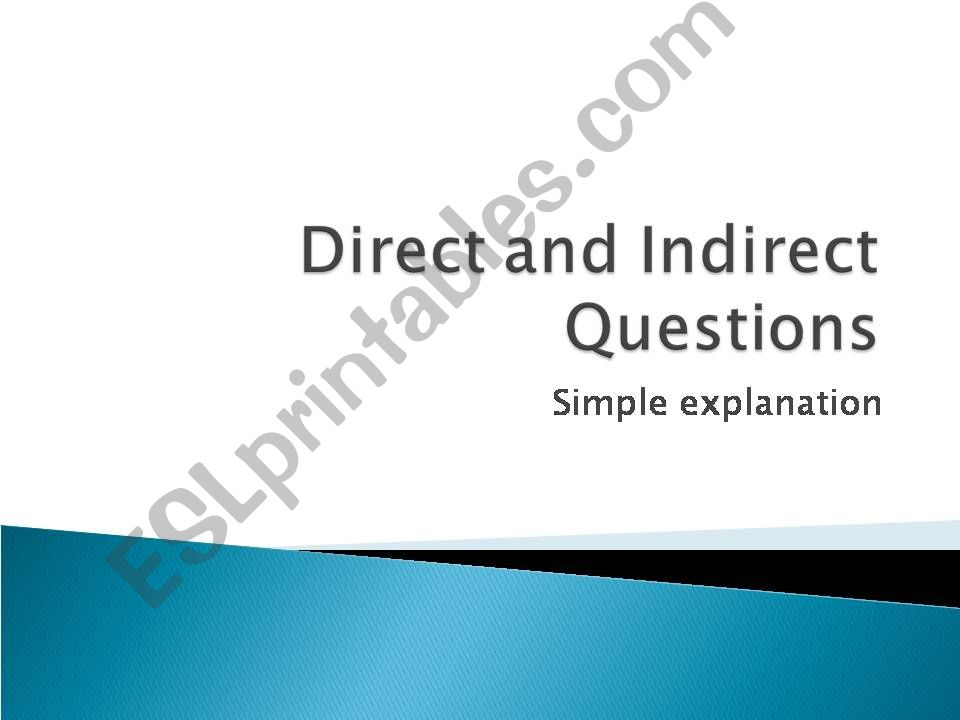 Direct and Indirect Questions powerpoint