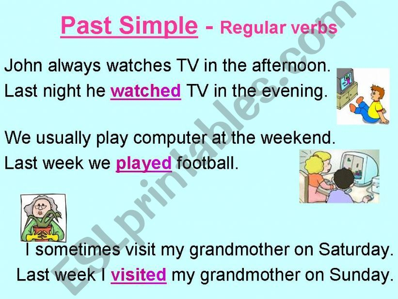 Past simple of regular verbs powerpoint