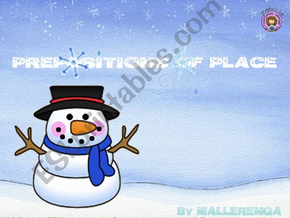 Prepositions in winter powerpoint