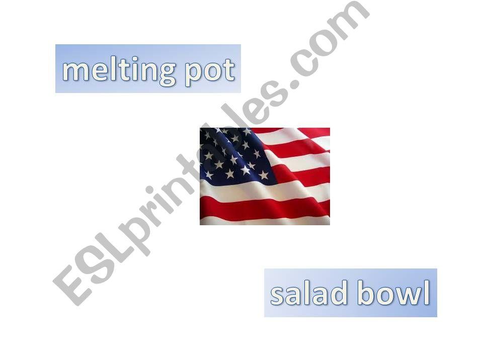 Multicultural world - USA , Melting pot or salad bowl