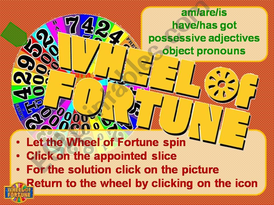 Wheel of Fortune: be/have got, possessive adjectives and object pronouns