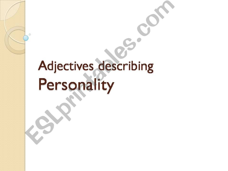 Adjective Describing Personality