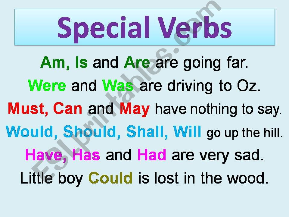 special verbs powerpoint