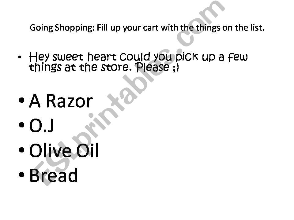 Going Shopping powerpoint