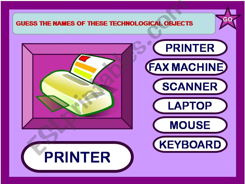 GUESS THE NAMES OF THESE TECHNOLOGICAL OBJECTS